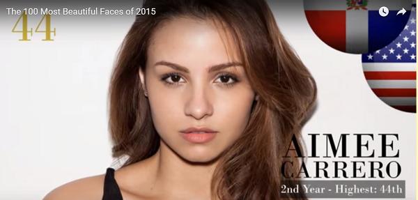 世界で最も美しい顔44位aimee carrero│The 100 Most Beautiful Faces of 2015