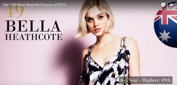 世界で最も美しい顔49位ベラ・ヒースコートbella heathcote│The 100 Most Beautiful Faces of 2015