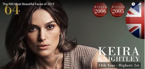 世界で最も美しい顔64位キーラ・ナイトレイkeira knightley│The 100 Most Beautiful Faces of 2015