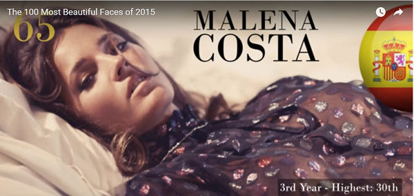 世界で最も美しい顔65位malena costa│The 100 Most Beautiful Faces of 2015