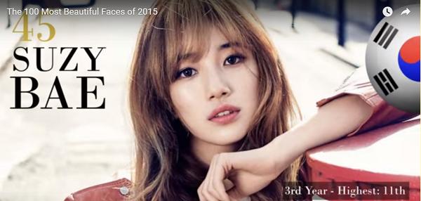 世界で最も美しい顔45位ペ・スジsuzy bae│Miss A│The 100 Most Beautiful Faces of 2015