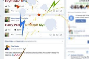 FacebookでHarry Potterなどとハリーポッター関連の投稿するとエフェクトがかかる