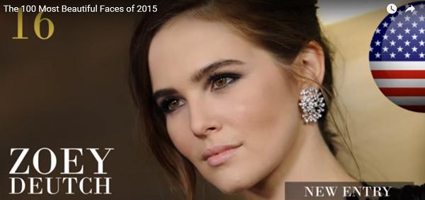 世界で最も美しい顔16位ゾーイ・ドゥイッチzoeydeutch│The 100 Most Beautiful Faces of 2015
