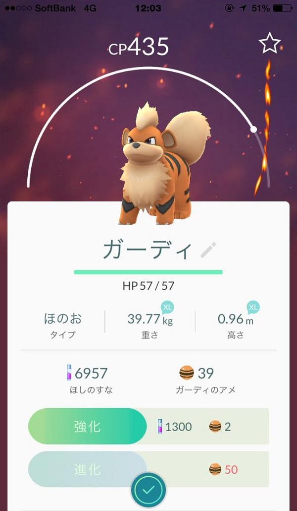 【ポケモンGO図鑑】ガーディのタイプCPウインディへの進化素材と出現場所 大阪城公園